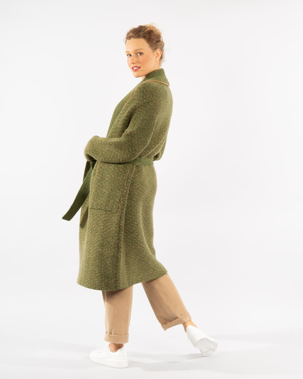 Wool Blend Knit Coat