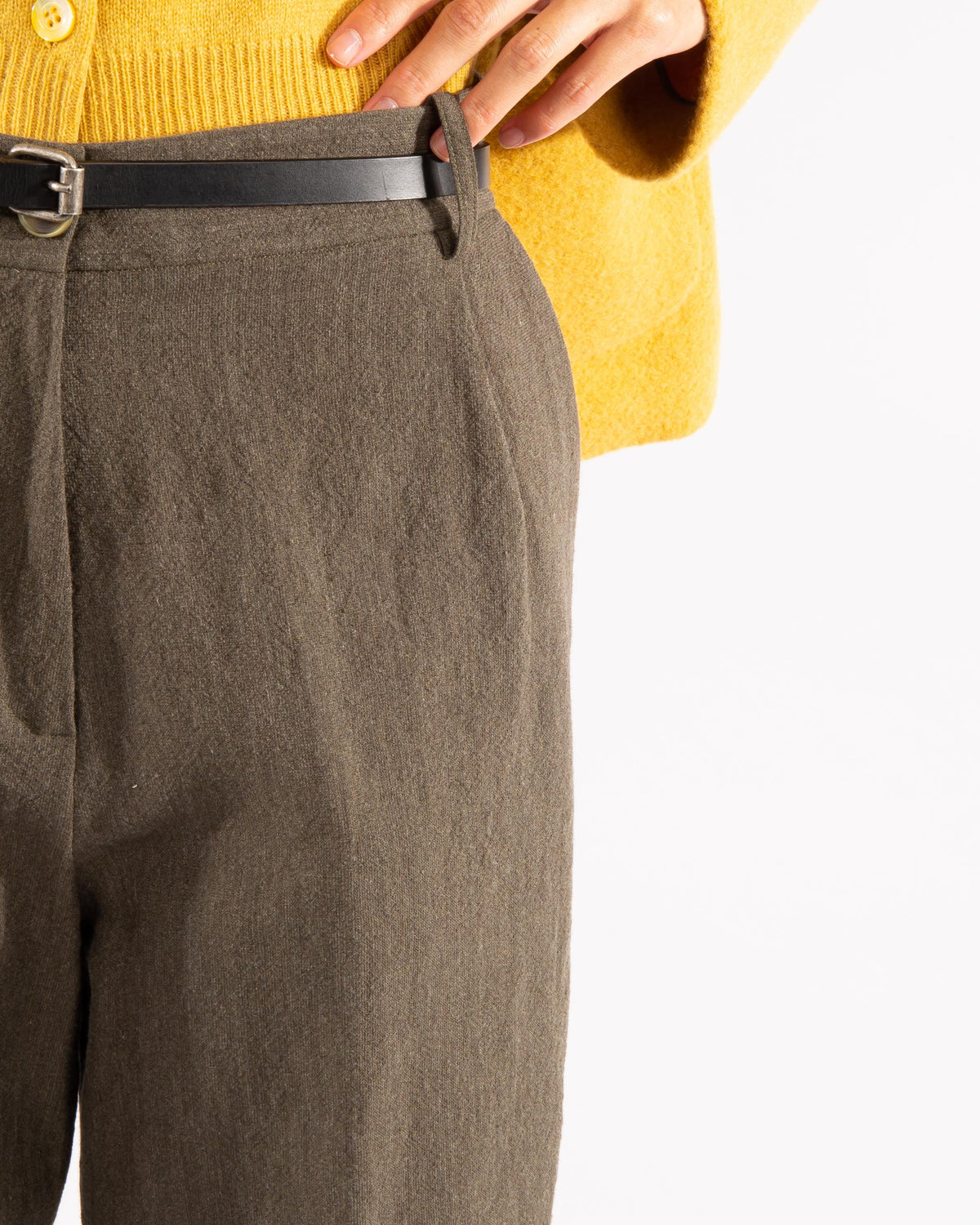 Wool Blend Pleated Trousers
