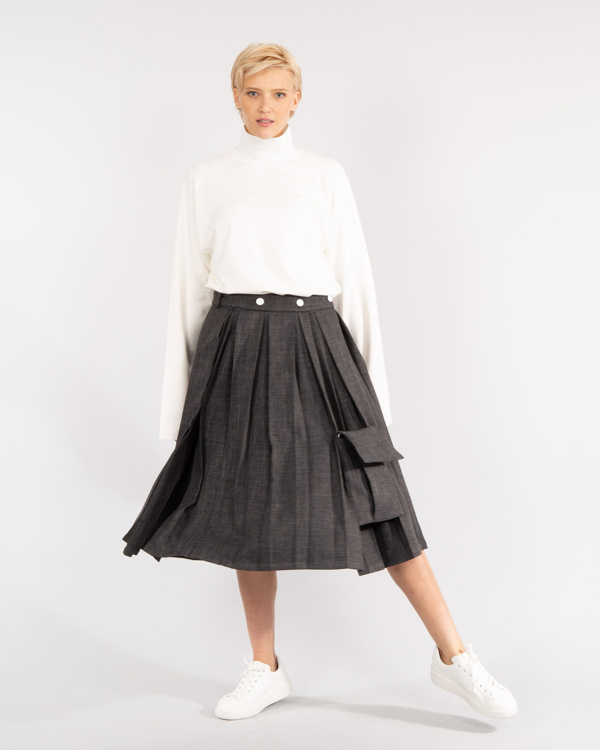 'Melange' Pleated Skirt
