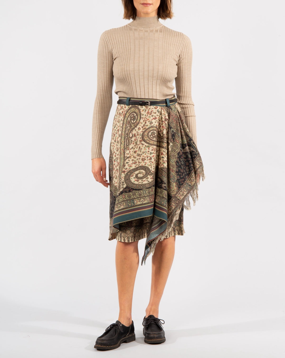 Paisley wool-silk blend Skirt