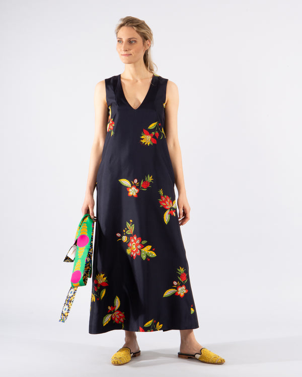 Long Silk 'Cocktail' Floral Print Dress