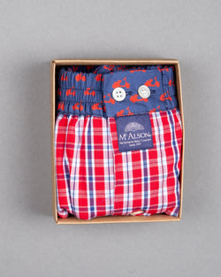 Mc Alson boxer shorts 100% cotton red scooter print