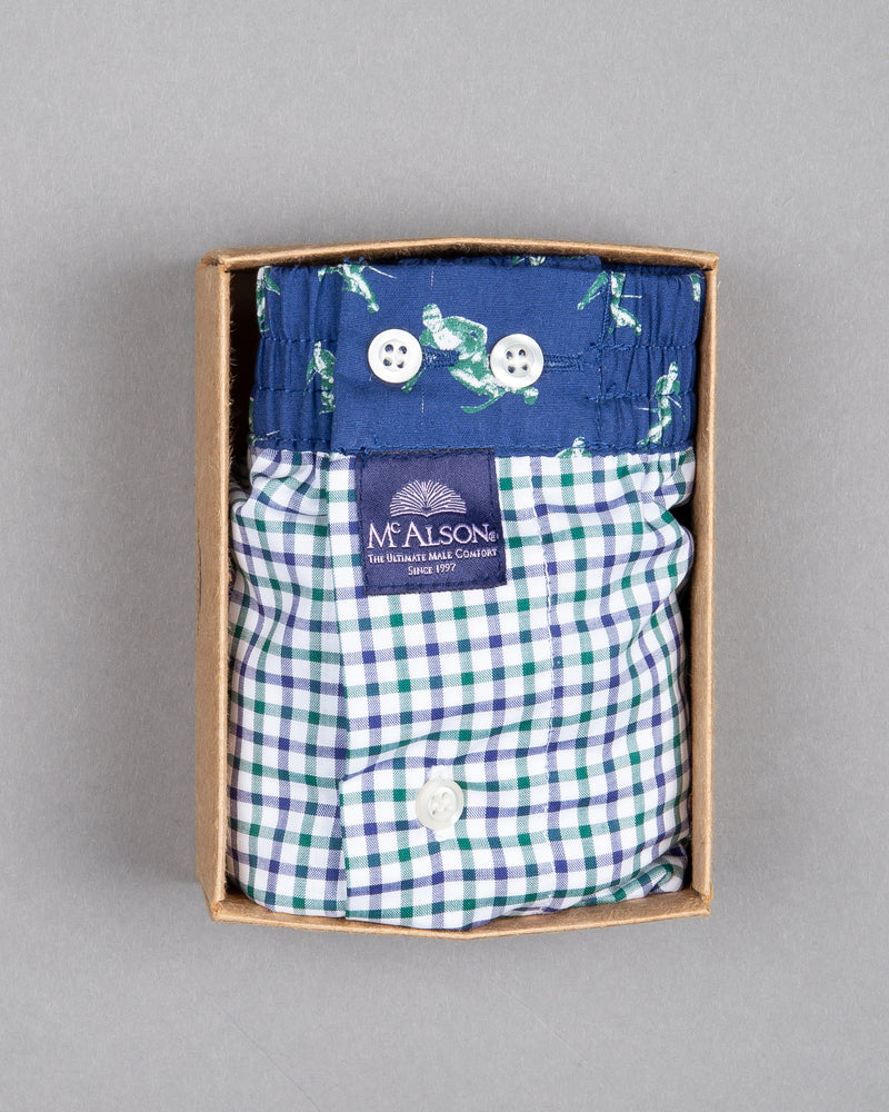 Mc Alson boxer shorts 100% cotton blue skier print