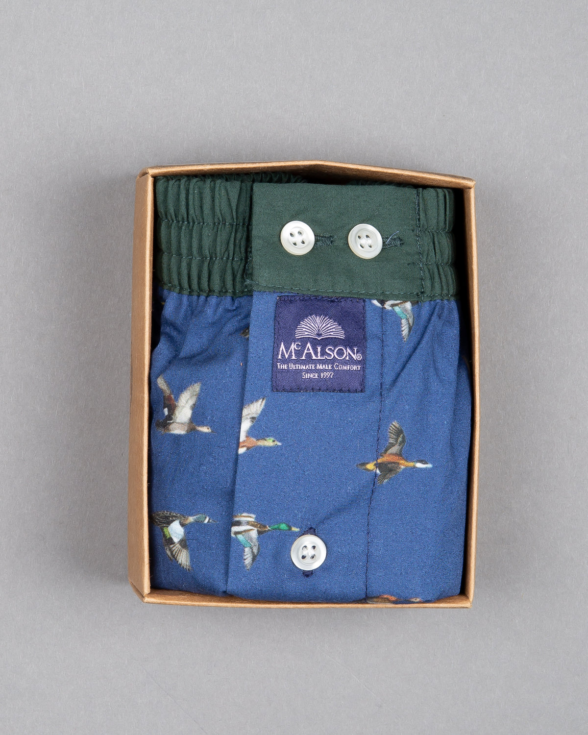 Mc Alson Boxershort 100% cotton blue with duck print