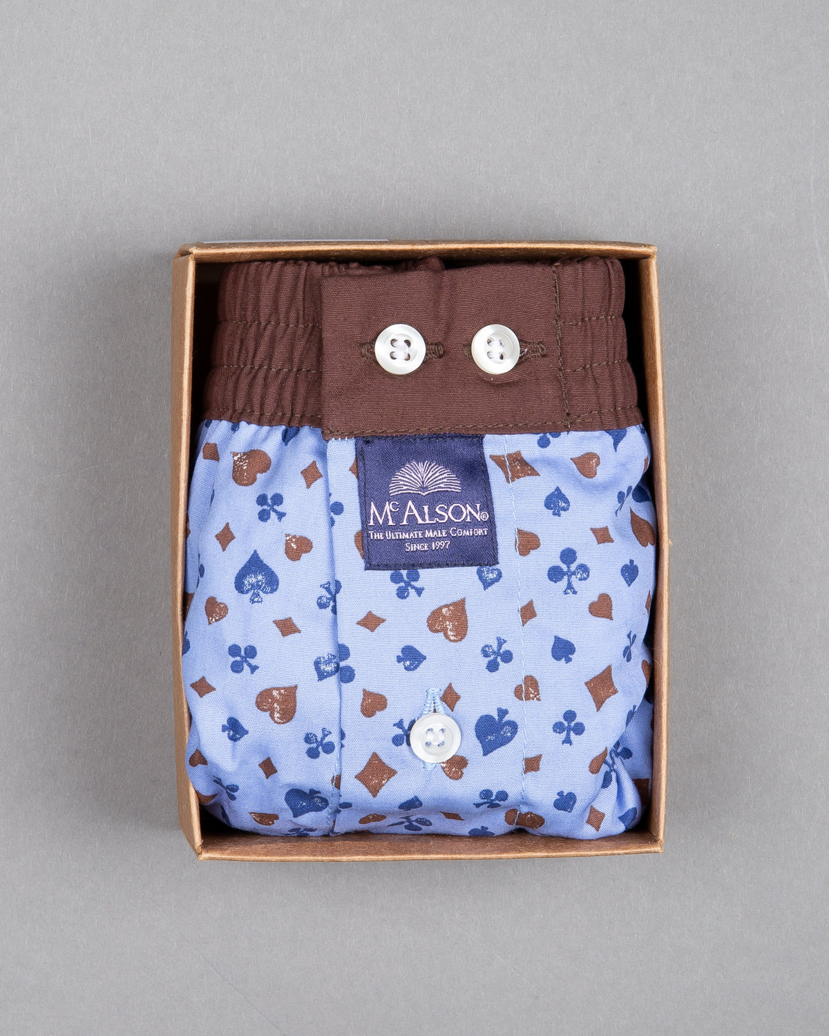 Mc Alson Boxershort 100% cotton light blue brown