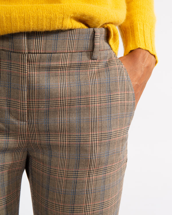 Plaid Virgin Wool Blend Trousers