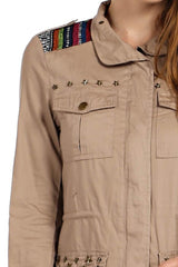 embroidered kilim jacket satin lining, pure cotton, front pockets and kilim shoulder detail.