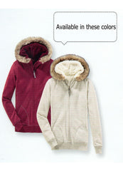 soft and warm hooded jacket with faux-fur trim