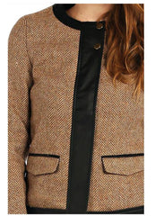 jacket features faux leather lining, wool blend and zip on sleeves.