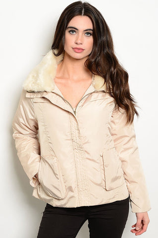 faux fur collar jacket removable faux fur collar, a zipper closure and convenient pocket details