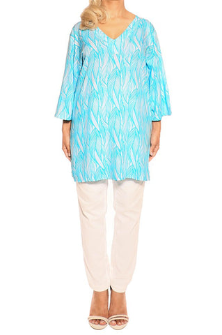Aqua Resort Tunic Tops - ESMERALDA THOMSON Chic Boho Resort Wear