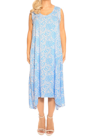 Blue Sleeveless Resort Dress - ESMERALDA THOMSON Beach and Resort Wear