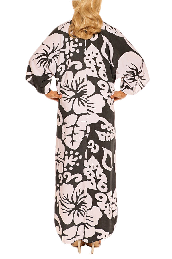 Charcoal Resort Kaftan Maxi Dress - ESMERALDA THOMSON Boho Resort Wear