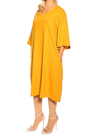 Mustard Linen Dress - ESMERALDA THOMSON Fine Linen Clothing