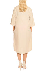 Beige Linen Dress - ESMERALDA THOMSON Fine Linen Clothing
