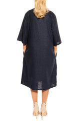 Navy Linen Dress - ESMERALDA THOMSON Fine Linen Clothing