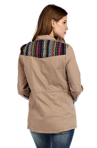 embroidered kilim jacket satin lining, pure cotton, front pockets and kilim shoulder detail-ESMERALDA THOMSON