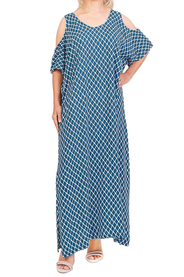 Ink  Cut Out Shoulder Maxi Dress - ESMERALDA THOMSON Beach & Resort Wear