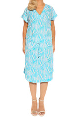 Aqua Short Sleeve Resort Dress - ESMERALDA THOMSON Beach and Resort Wear