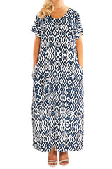 Navy Resort Kaftan Maxi Dress - ESMERALDA THOMSON Boho Resort Wear