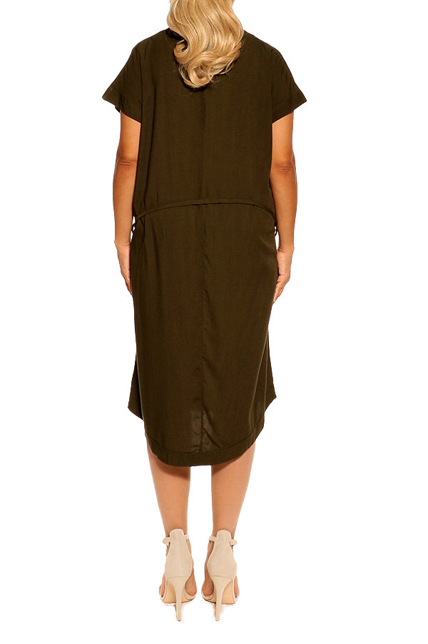 Olive Green Short Sleeve Resort Dress - ESMERALDA THOMSON Beach and Resort Wear