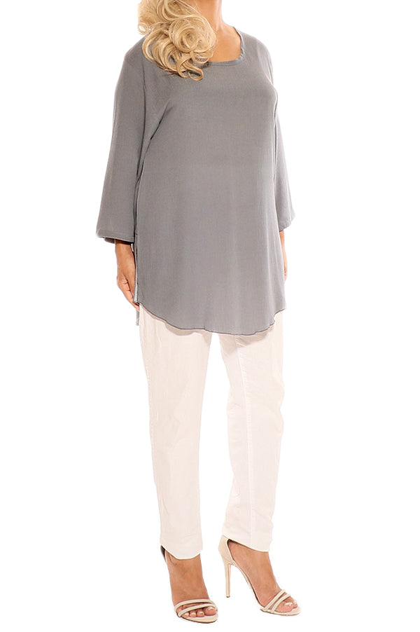 Grey Cotton Tops - ESMERALDA THOMSON Boho Chic Resort Wear