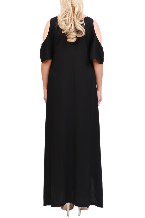 Black Cut Out Shoulder Maxi Dress - ESMERALDA THOMSON Beach & Resort Wear