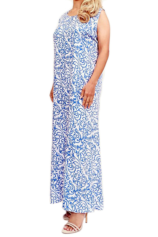 Blue Sleeveless Maxi Dress - ESMERALDA DRESS Beach & Resort Wear
