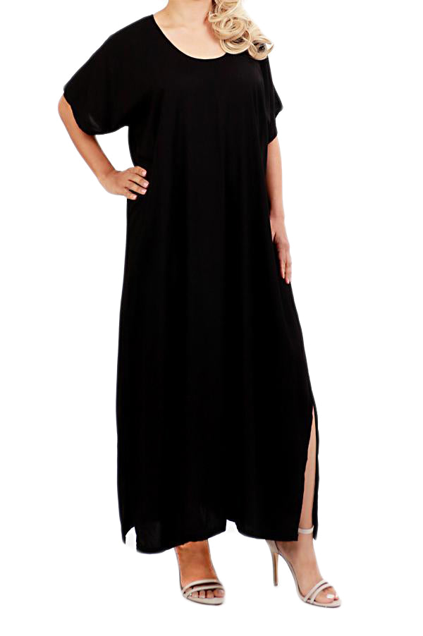 Black Resort Kaftan Maxi Dress - ESMERALDA THOMSON Boho Resort Wear