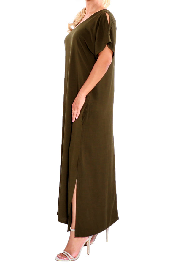 Olive Green Kaftan Maxi Dress - ESMERALDA THOMSON Boho Resort Wear