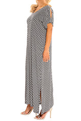 Black White Resort Kaftan Maxi Dress - ESMERALDA THOMSON Boho Resort Wear