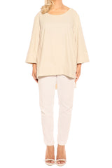 Beige Linen Top - ESMERALDA THOMSON Fine Linen Clothing