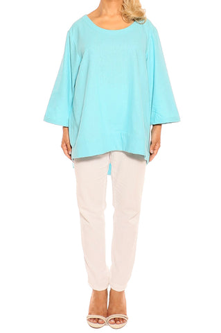 Aqua Linen Top - ESMERALDA THOMSON Fine Linen Clothing