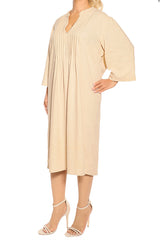 Beige Milano Linen Dress - ESMERALDA THOMSON Fine Linen Clothing