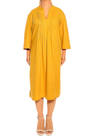 Mustard Milano Linen Dress - ESMERALDA THOMSON Fine Linen Clothing