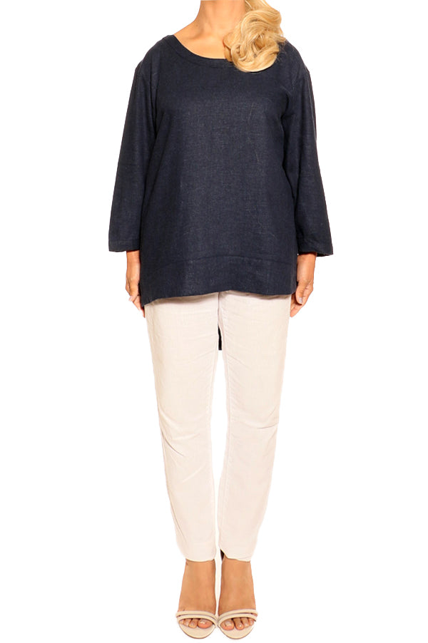Navy Linen Top - ESMERALDA THOMSON Fine Linen Clothing