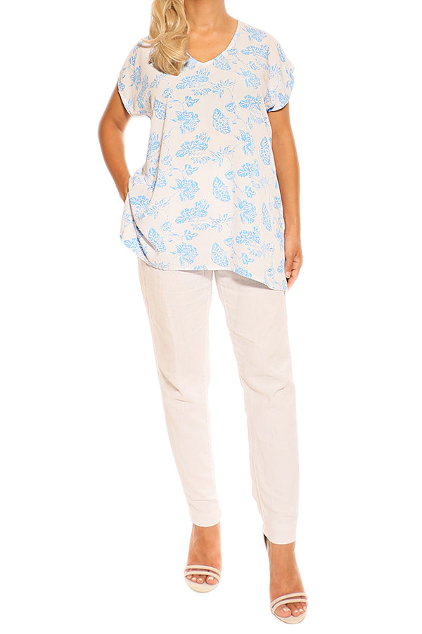 Blue Resort Boho Short Sleeve Top - ESMERALDA THOMSON Boho Resort Wear