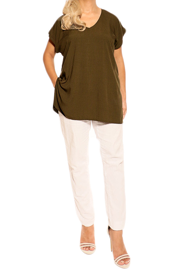 Olive Green Resort Boho Short Sleeve Top - ESMERALDA THOMSON Boho Resort Wear