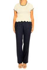 Navy Linen Pants - ESMERALDA THOMSON Fine Linen Clothing
