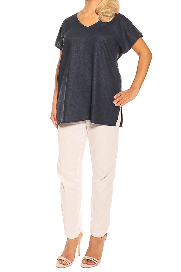 Navy Linen Tops - ESMERALDA THOMSON Fine Linen Clothing