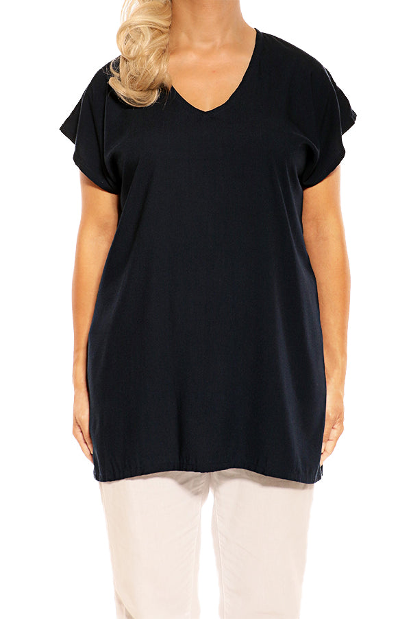 Navy Resort Boho Short Sleeve Top - ESMERALDA THOMSON Boho Resort Wear