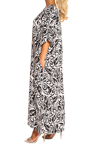 Black White Kaftan Maxi Dress - ESMERALDA THOMSON Boho Resort Wear