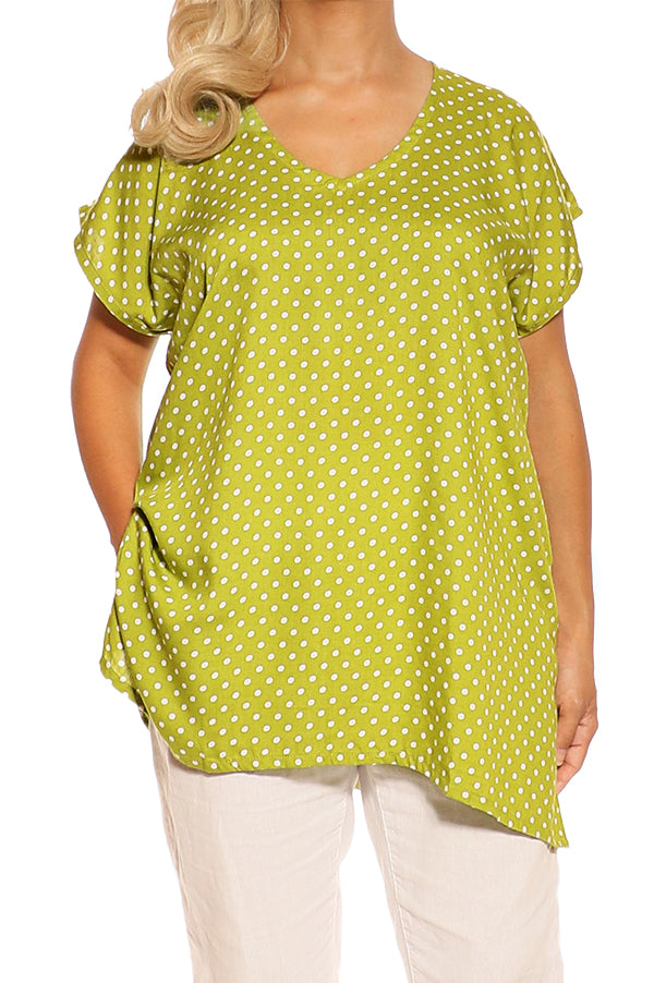 Green Polka dot Resort Boho Short Sleeve Top - ESMERALDA THOMSON Boho Resort Wear