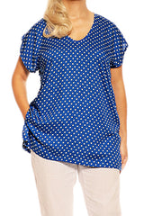 Polka Dot Blue Resort Boho Short Sleeve Top - ESMERALDA THOMSON Boho Resort Wear