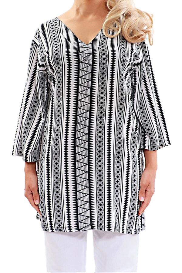 Black Resort Tunic Tops - ESMERALDA THOMSON Boho Chic Resort