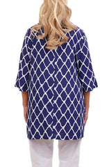 Purple Blue Resort Tunic Tops - ESMERALDA THOMSON Chic Boho Resort Wear