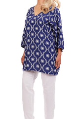 Navy Resort Tunic Tops - ESMERALDA THOMSON Chic Boho Resort Wear