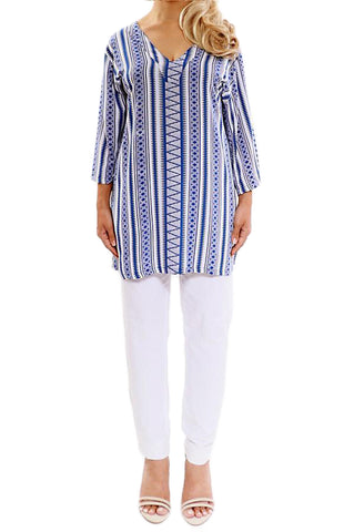 Blue Resort Tunic Tops - ESMERALDA THOMSON Boho Chic Resort