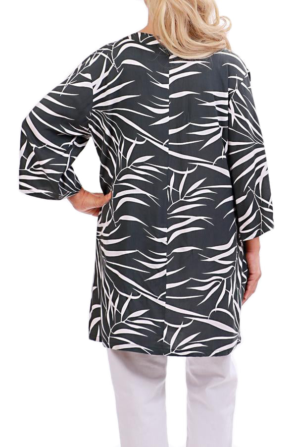 Charcoal Resort Tunic Tops - ESMERALDA THOMSON Chic Boho Resort Wear
