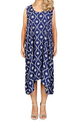 Purple Blue Sleeveless Resort Dress - ESMERALDA THOMSON Beach and Resort Wear
